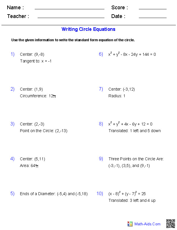 Graphing Equation of Circle Worksheets Math Aids