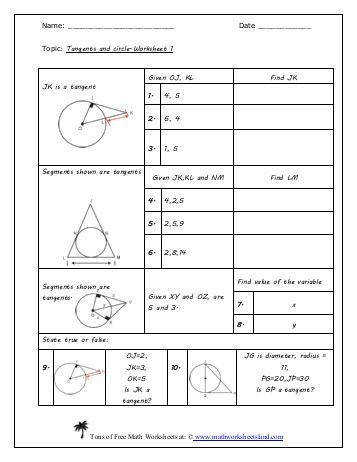 Worksheets Tangents To Circles Worksheet 11 5 angle relationships in circles bc thm if a tangent