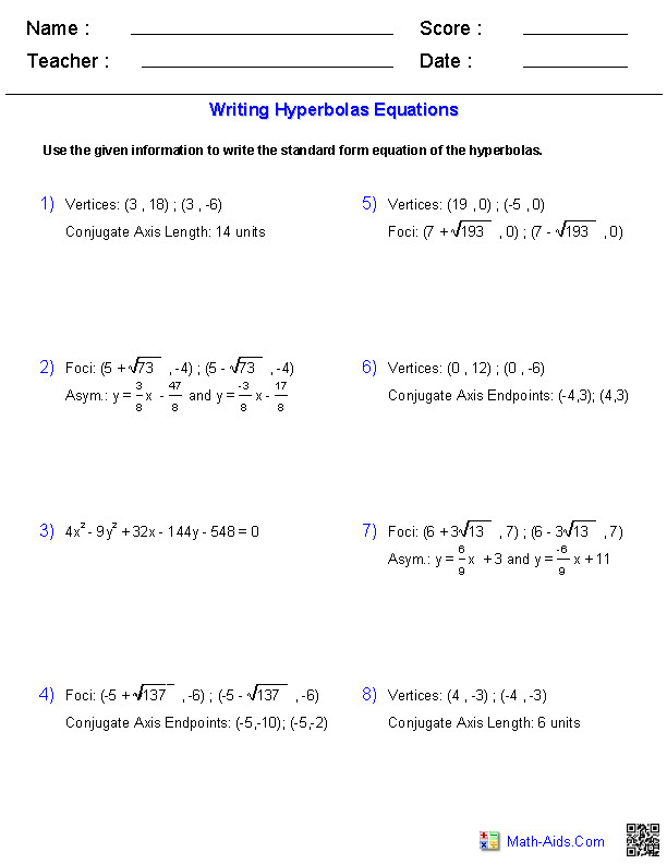 Equations of Circles Practice 10th 12th Grade Worksheet