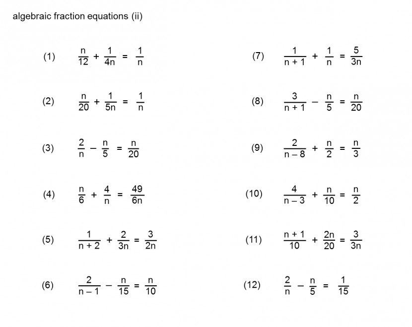 Equations With Fractions Worksheets Printables Solving Simple Worksheet Algebraic Fractions 6 Equations With Fractions Worksheet Worksheet