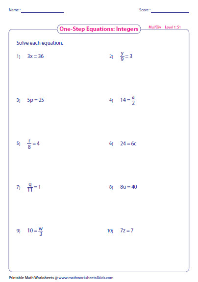 multiplication and division worksheet e Step Equation Multiplication and Division