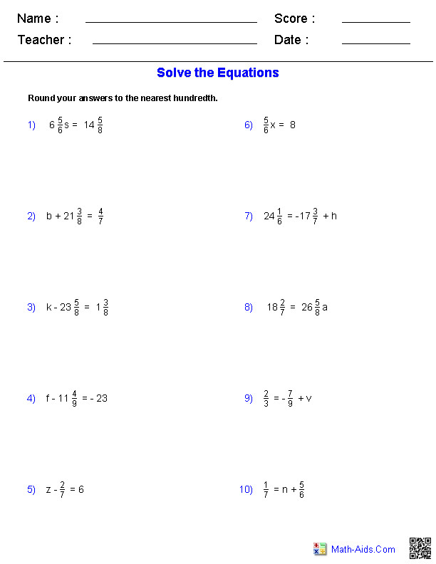 e Step Equations Worksheets Containing Fractions