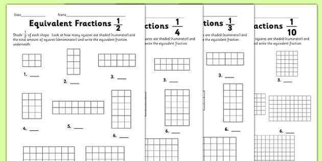 Equivalent Fractions Worksheet equivalent fractions worksheet