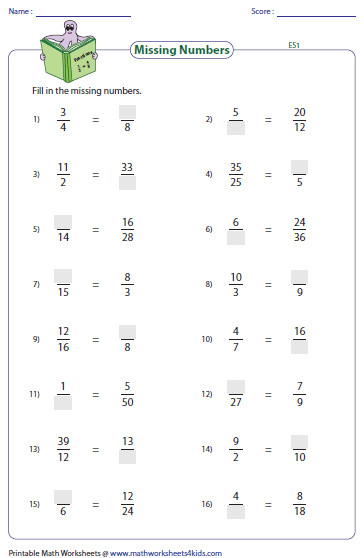 Find the missing number that makes the equivalent fractions Easy level has 2 3 4 and 5 as factors Medium level has factors between 1 and 11
