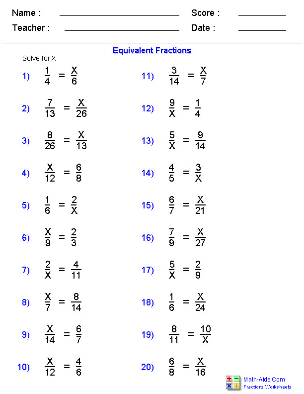 Equivalent Fraction Problems Worksheets