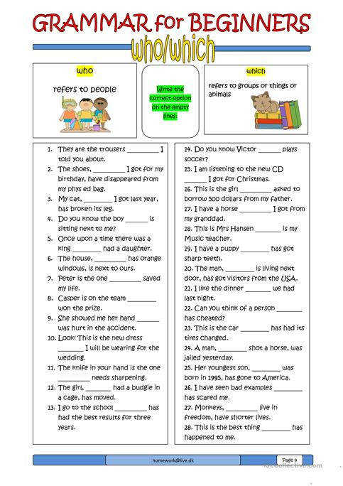 Grammar for Beginners who which