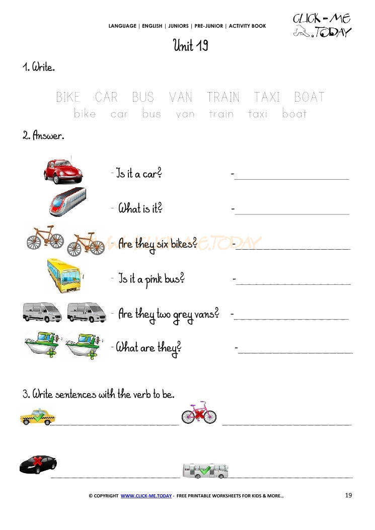 FREE PRINTABLE BEGINNER ESL PRE JUNIOR WORKSHEET 19 MEANS OF TRANSPORT