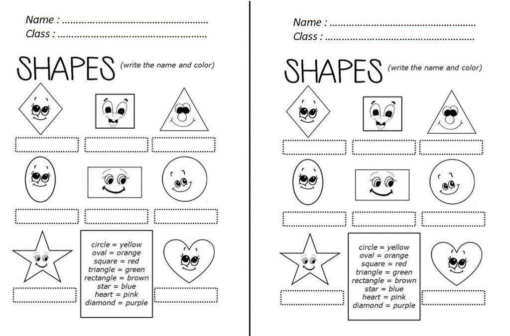 Grade Esl Worksheets Worksheet English Exercises For Kids Shapes Bworksheet Kindergarten