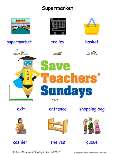 Supermarket EAL ESL Worksheets Games Activities and Flash Cards with audio