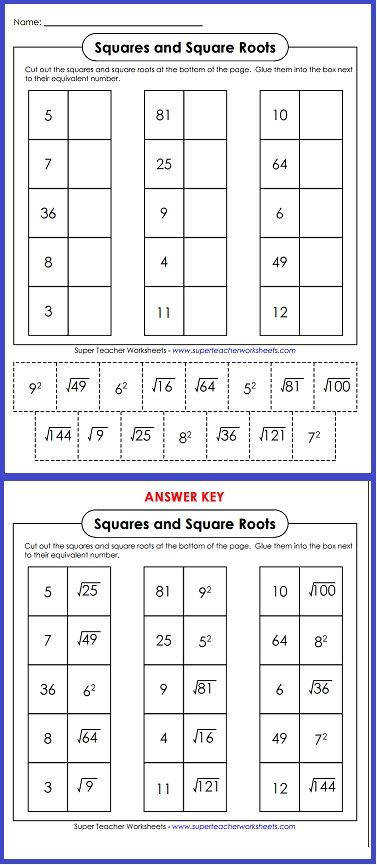 Try out this worksheet on squares and square roots