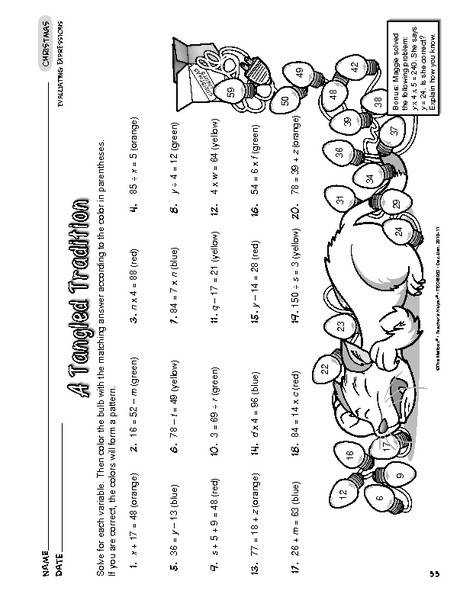 Christmas Worksheet Evaluating Algebraic Expressions A tangled tradition