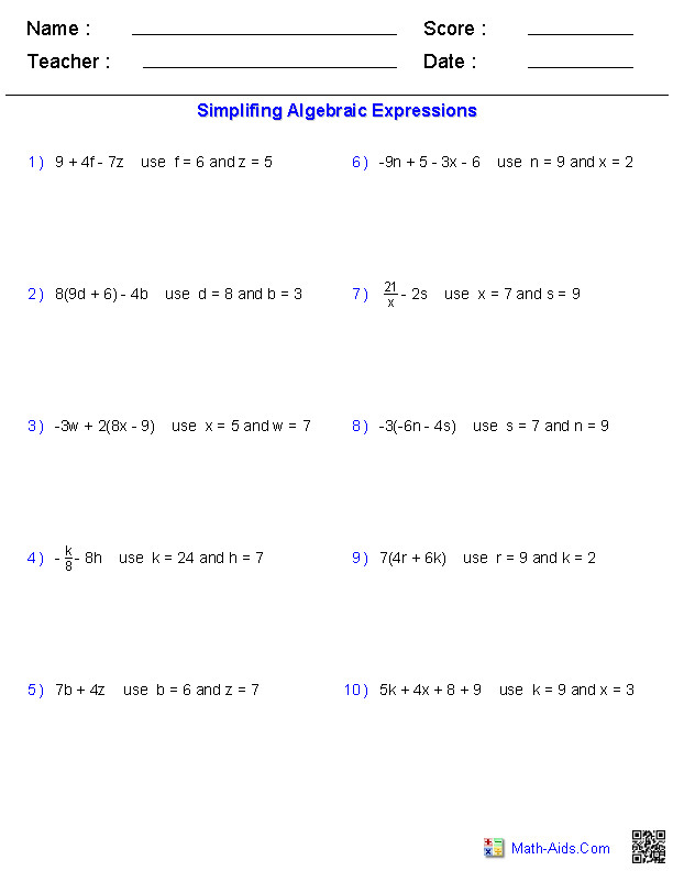Algebraic Expressions Evaluating Two Variables · Evaluating Two Variables Worksheets