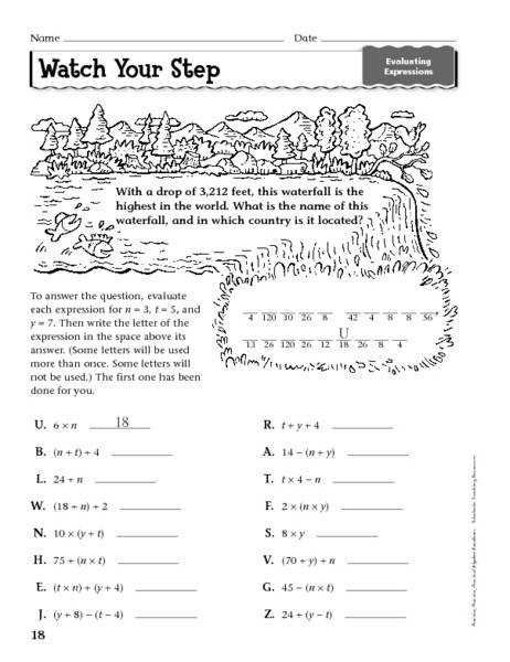 Algebra Worksheet Evaluating Two Step Algebraic Expressions