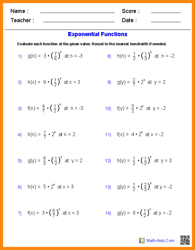 printable algebra worksheetsgebra1 evaluate exponential functions