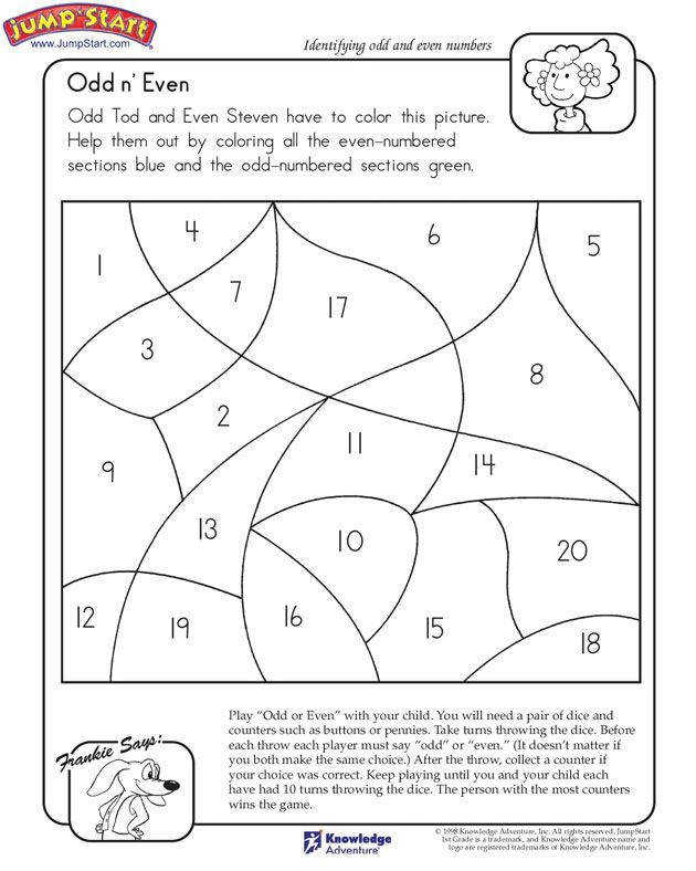 """""""Odd n Even"""" – 1st Grade Math Worksheet on Odd and Even Numbers"""