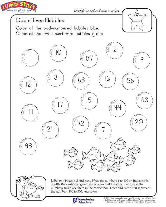 """""""Odd n Even Bubbles"""" – 2nd Grade Math Worksheet on Odd and Even"""