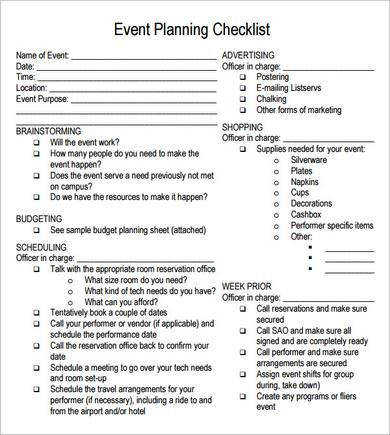 free printable party planning papers Event Planning Checklist 7 Free Download For PDF
