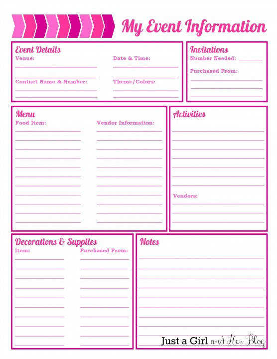 party planner sheets