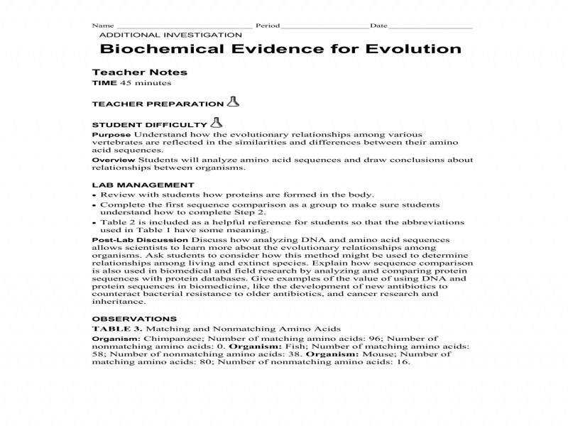 Evidence For Evolution Worksheet Worksheets