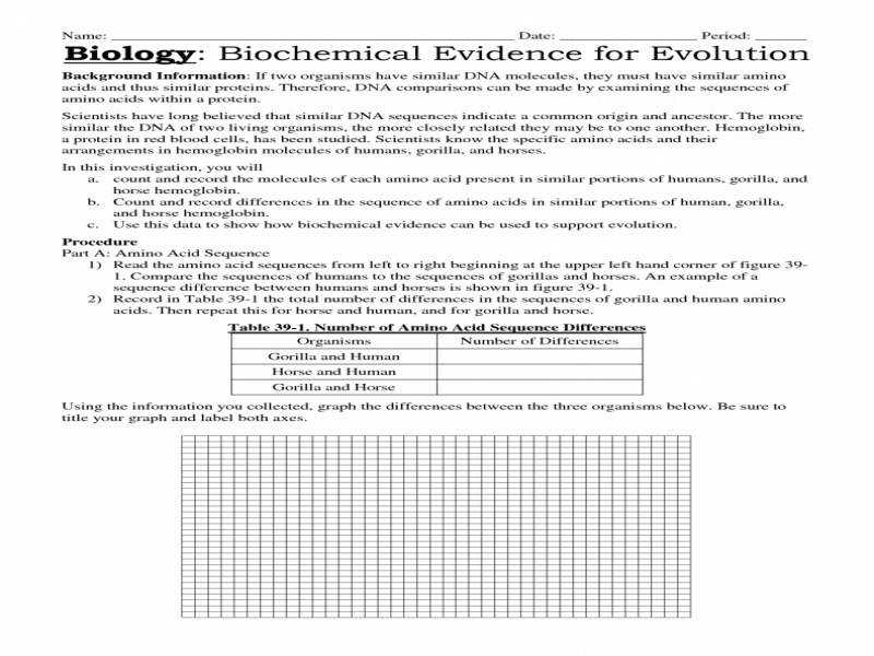 mon Worksheets Evidence For Evolution Worksheet Answers