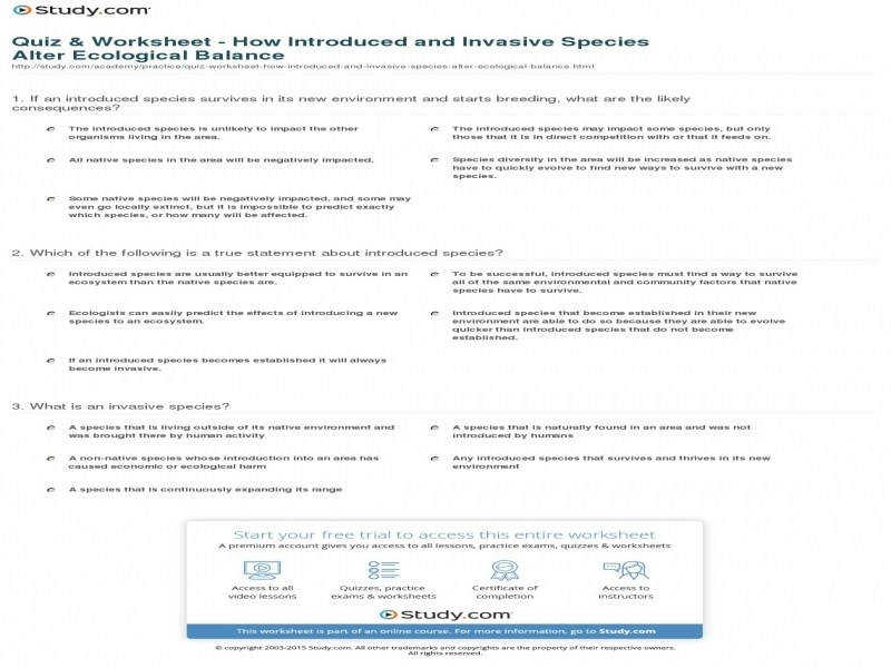 Quiz & Worksheet How Introduced And Invasive Species Alter