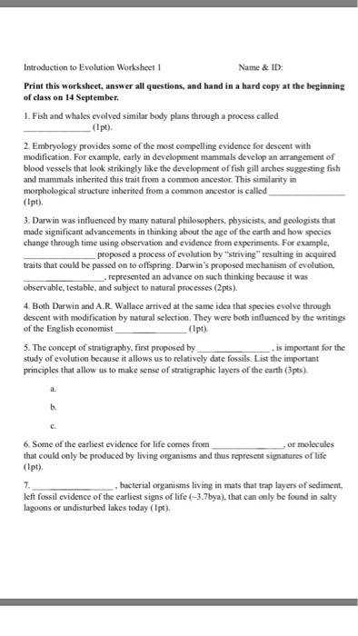 Introduction to Evolution Worksheet 1 Name & ID Print this worksheet answer all questions
