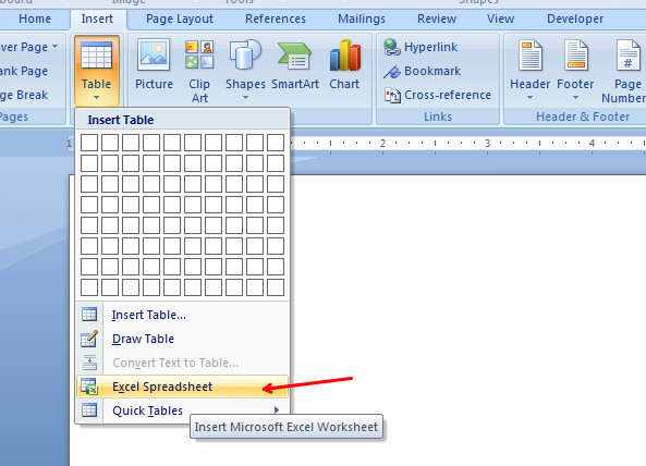 insert excel spreadsheet in word using Table