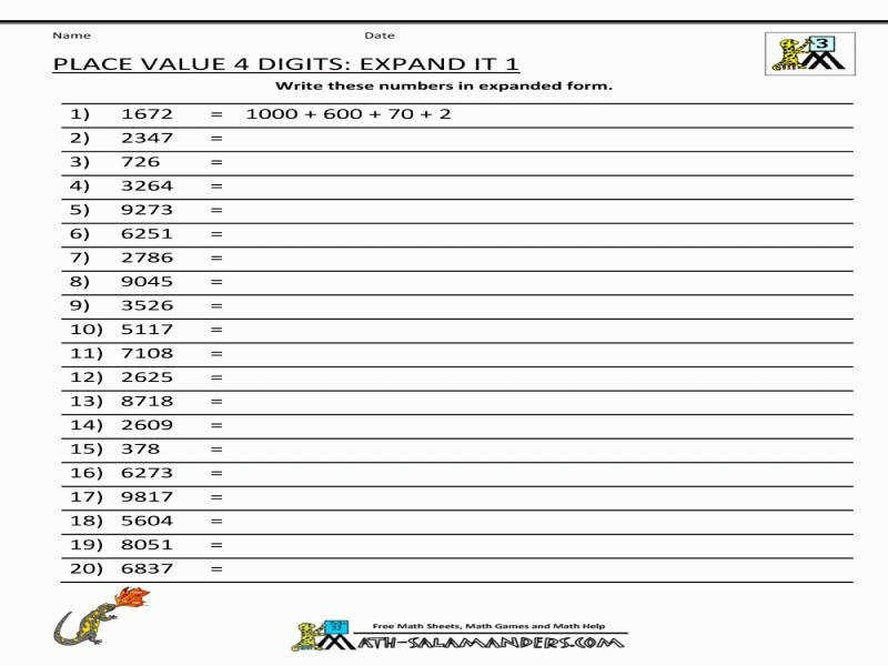 Math Worksheets Place Value 3Rd Grade