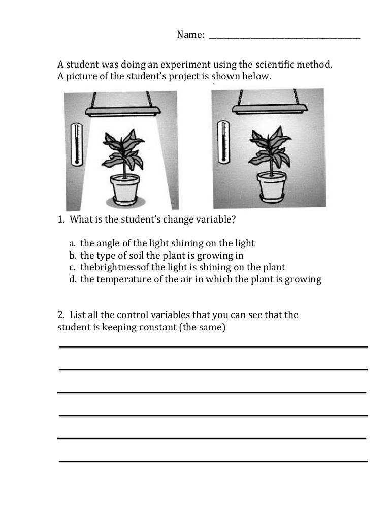 Worksheets Experimental Variables Worksheet scientific method variables worksheet
