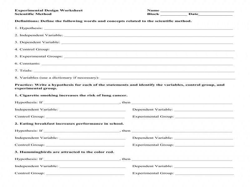 Worksheet Experimental Design Worksheet – Experimental
