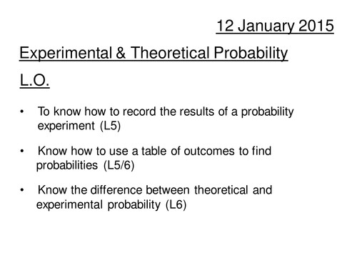 Experimental and Theoretical Probability by davewilson Teaching Resources Tes