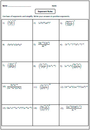 Preview Laws of Exponents Worksheets