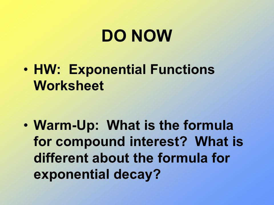 DO NOW HW Exponential Functions Worksheet