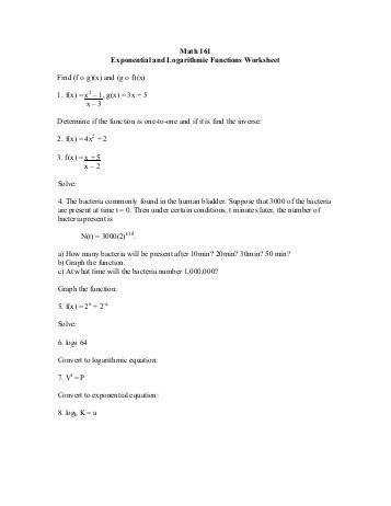 Math 161 Exponential and Logarithmic Functions Worksheet Find f