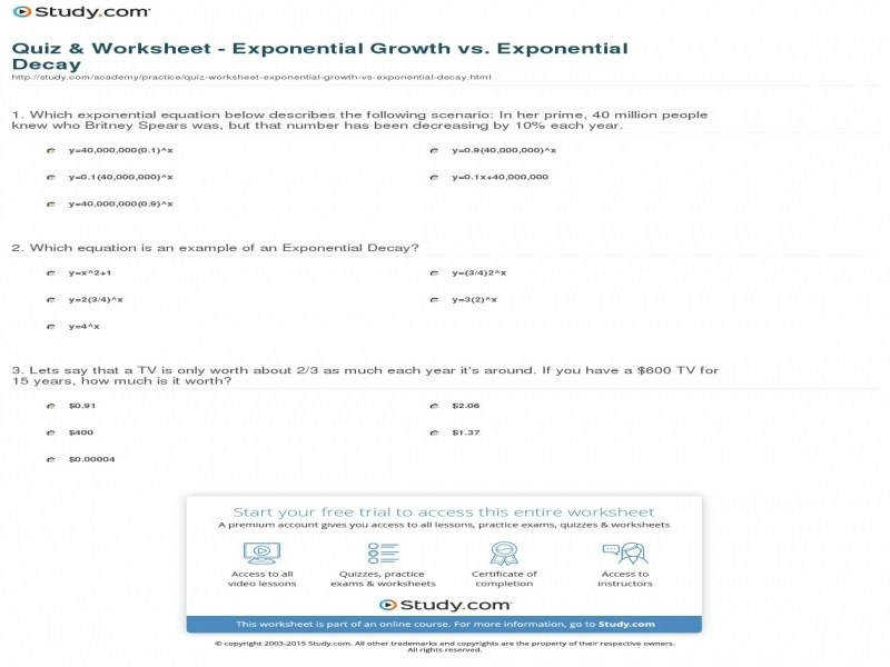 Quiz & Worksheet – Exponential Growth Vs Exponential Decay