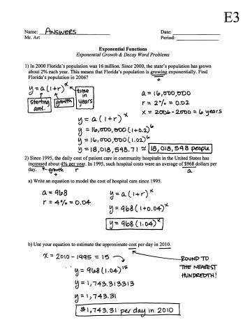Exponential Growth And Decay Problems Exponential Growth And Decay Problems Word Worksheet Answers Printable Representation