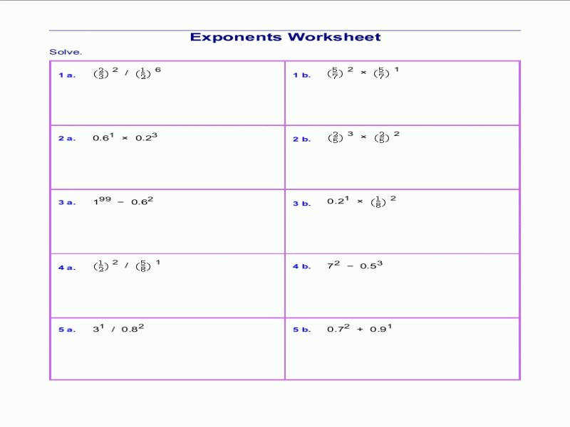 Free Exponents Worksheets