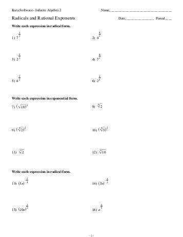 Algebra 2 worksheets radical functions and rational exponents worksheets