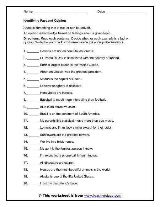 Identifying Facts and Opinions Worksheet