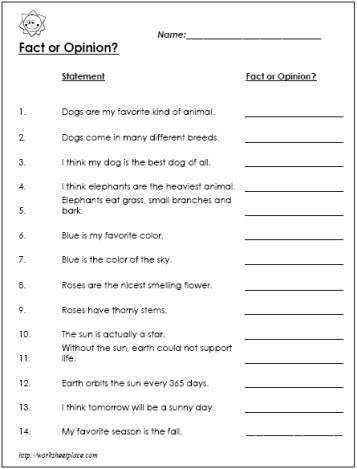 Fact & Opinion worksheet I used it to create a Google form