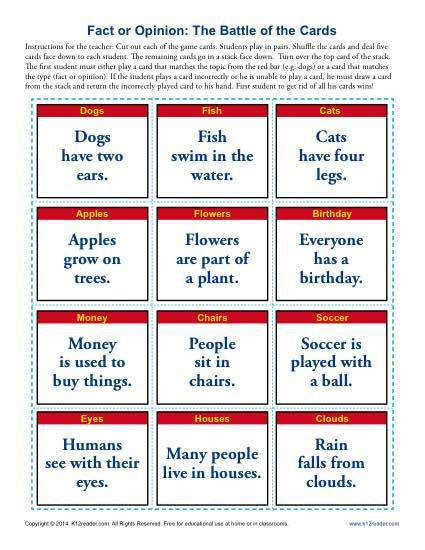 Fact and Opinion Worksheets The Battle of the Cards Activity