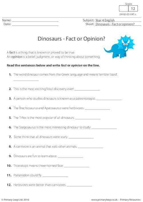 PrimaryLeap Dinosaurs Fact or Opinion Worksheet