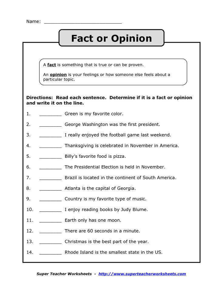 fact vs opinion worksheet Google Search