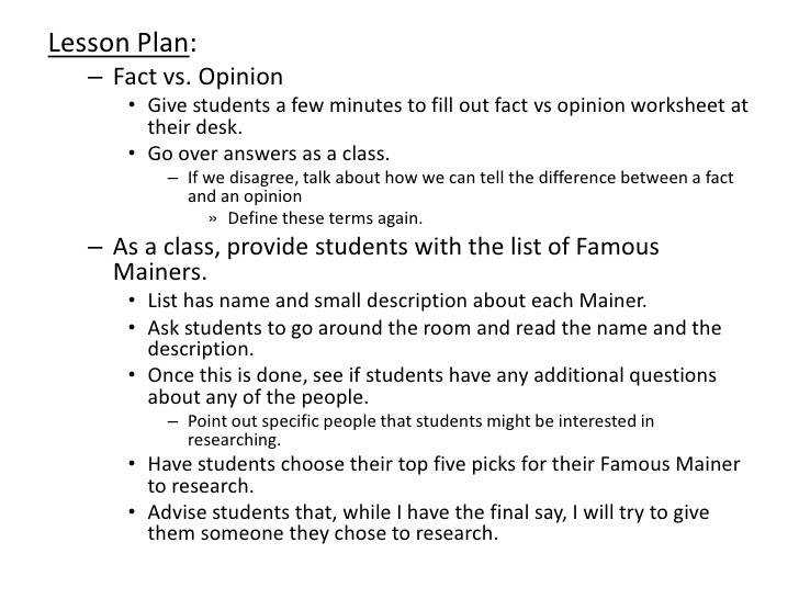 Opinion worksheet – Famous Mainers list 9 Lesson Plan – Fact vs
