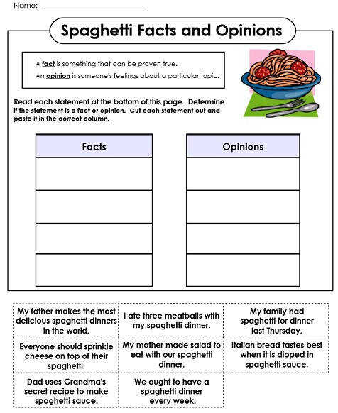 Fact Opinion Printables