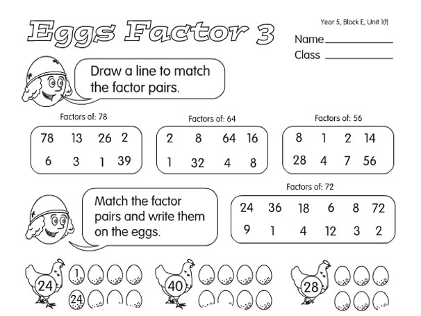 Preview of Eggs Factor 3 A year 4 factors & multiples worksheet