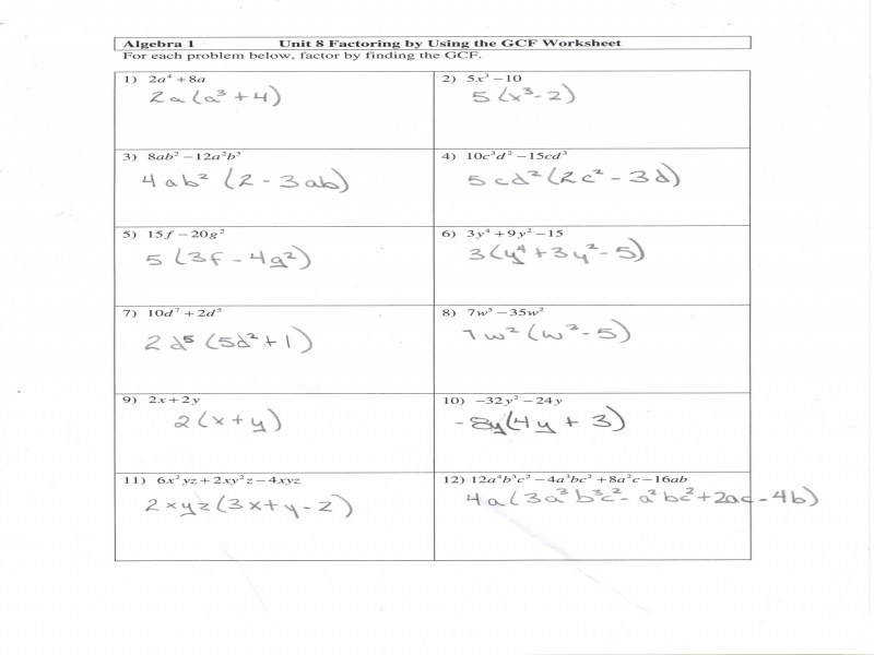 Factoring Polynomials Worksheet Algebra 1 Factoring Review