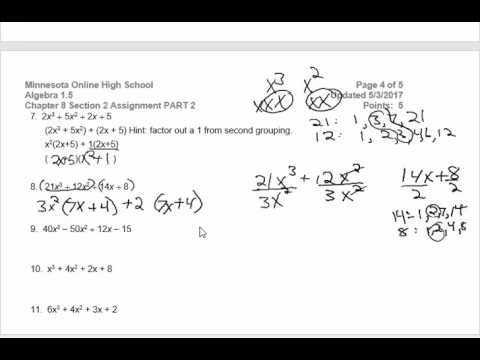 Algebra 1 5 8 2 Part 2 Factoring by Grouping Worksheet Video