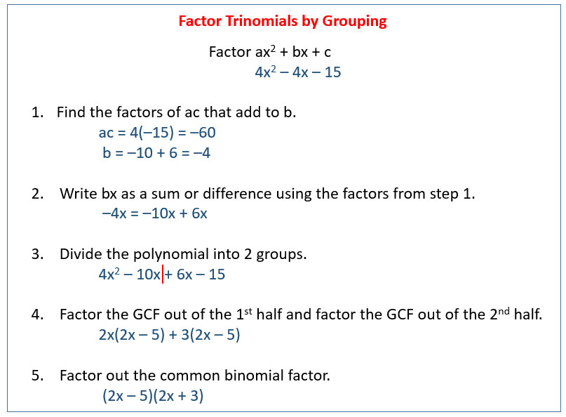 factor trinomial using grouping