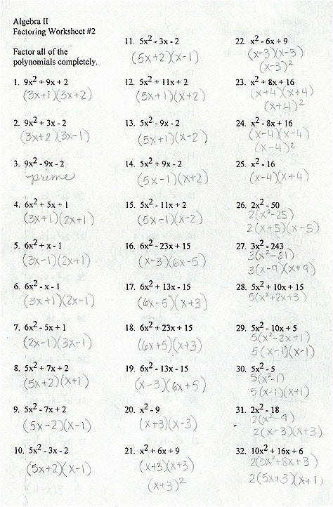 Factoring Polynomials Worksheet Answers Concept Factoring Polynomials Worksheet Answers Shape Trinomial Worksheets Gallery Divine 1000 About